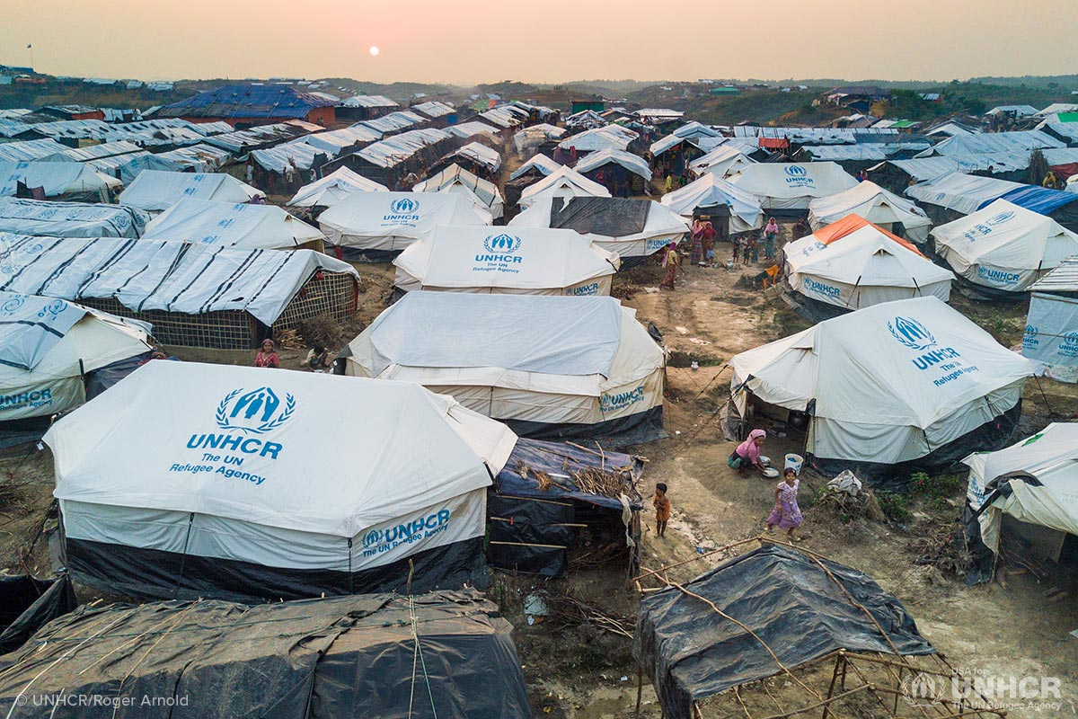 Tents set up in a Rohingya refugee camp