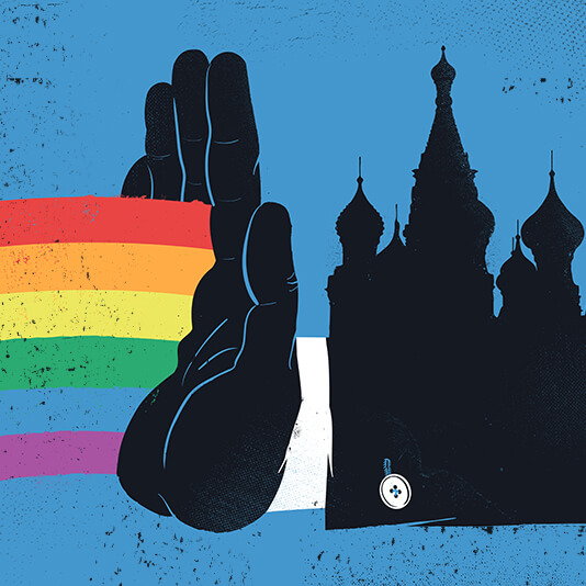 An illustration depicting a hand blocking a rainbow from entering a city.
