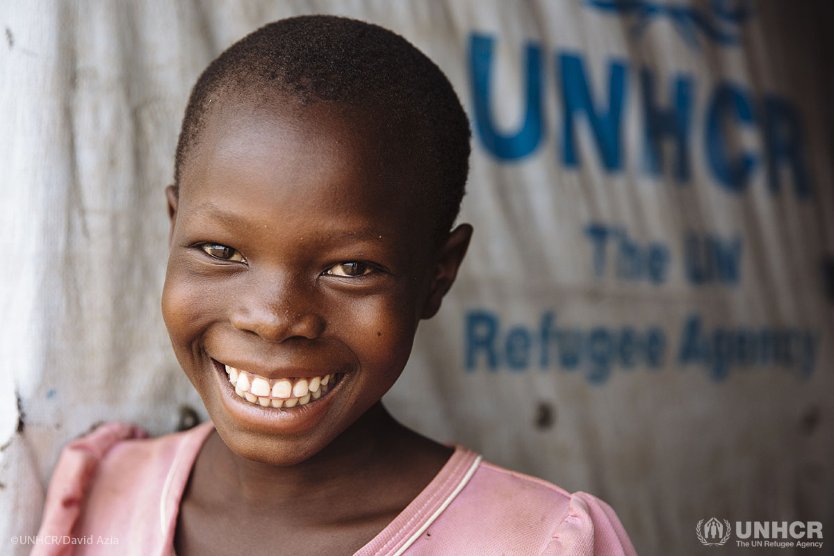 Eight-year-old Saron, from Yei, South Sudan, at the Ofonze Primary School in Bidibidi refugee settlement, Yumbe District, Northern Region, Uganda.