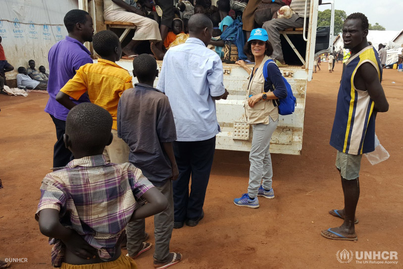 Massoumeh Farman Farmaian works with South Sudanese refugees in in Nyumanzi transit center in Uganda.