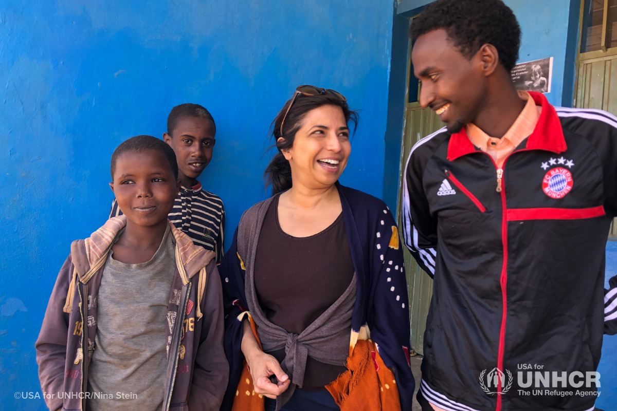 Yasmin Causer at child safe space in Ethiopia