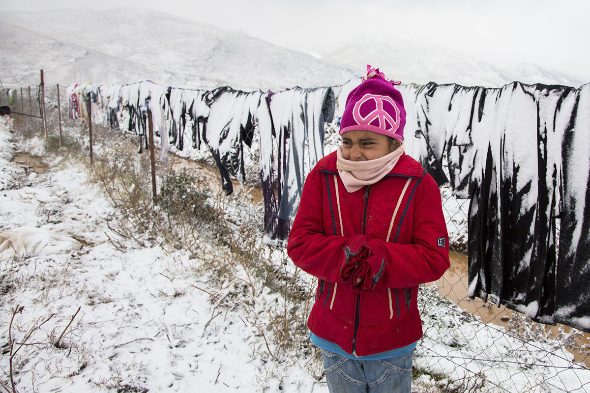 Sakeefa braves a snowy December day in Lebanon's Bekaa Valley, home to hundreds of thousands of Syrian refugees.