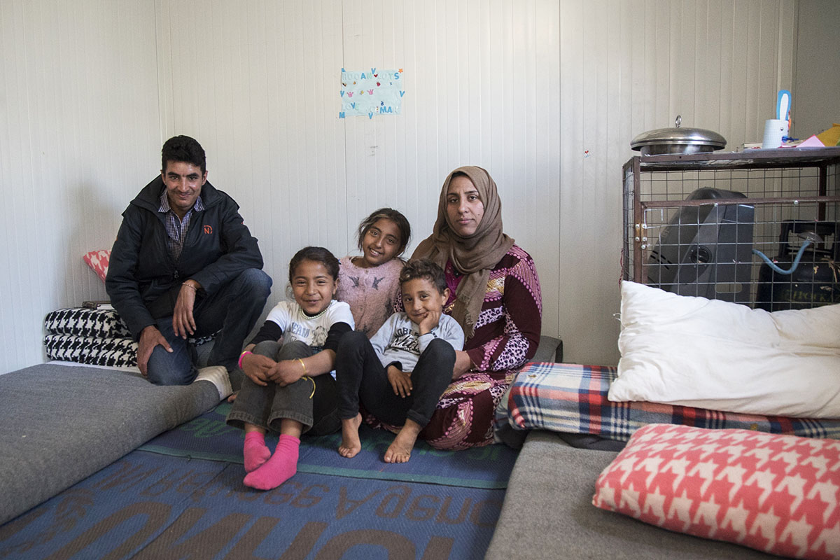 Thanks to generous donor support, this Syrian refugee family has found safety in Greece, where they are staying in prefabricated structures in Kara Tepe, a UNHCR-supported housing site on the island of Lesvos. Sleeping mats and blankets keep them warm and comfortable.
