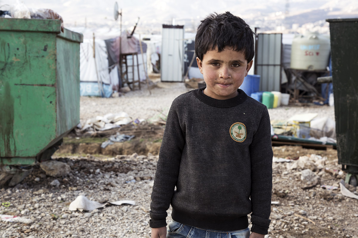 This little boy was only wearing a thin sweater and sandals when he arrived in Lebanon's Bekaa Valley, where he, his parents and his siblings have settled.
