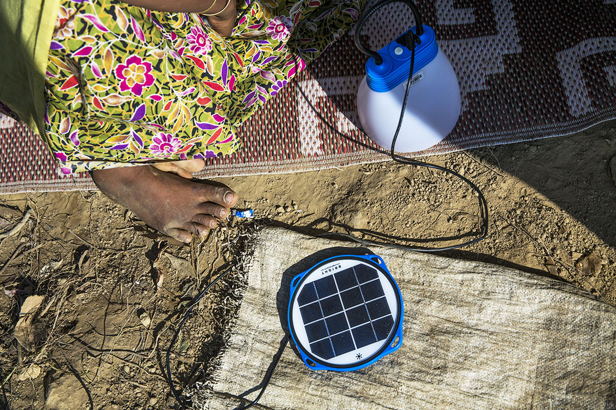 Solar lanterns also double as mobile phone chargers, which enable refugees to stay in touch with relatives and receive information about access to food and other assistance from the UN Refugee Agency.