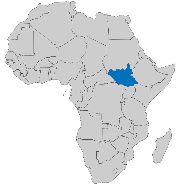 Map of Africa highlighting SouthSudan
