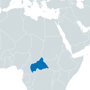 map with central african republic highlighted in blue