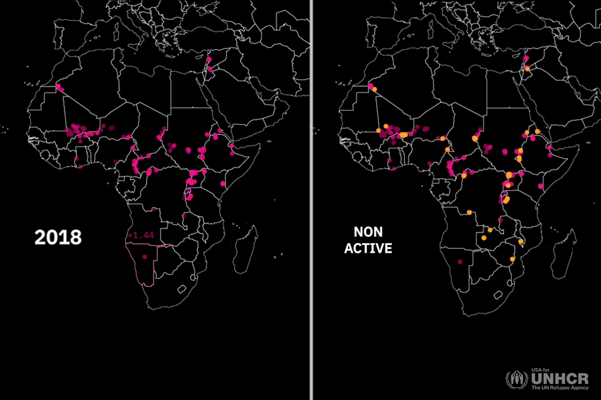 two maps visualizing boreholes in africa