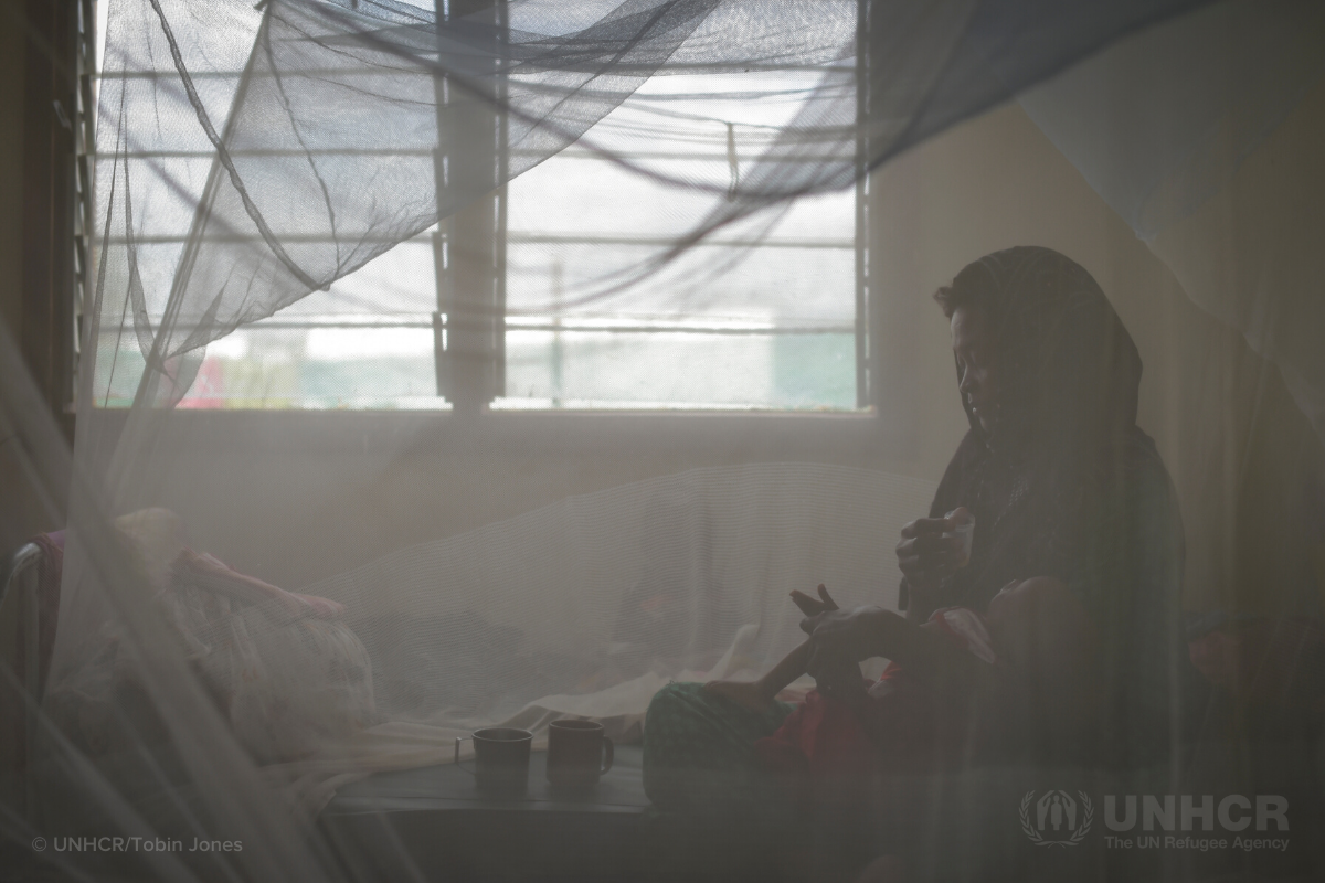 woman sitting inside mosquito net