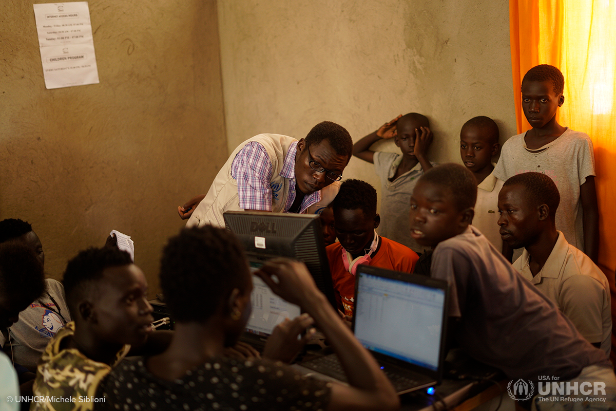 students in uganda use computers for class