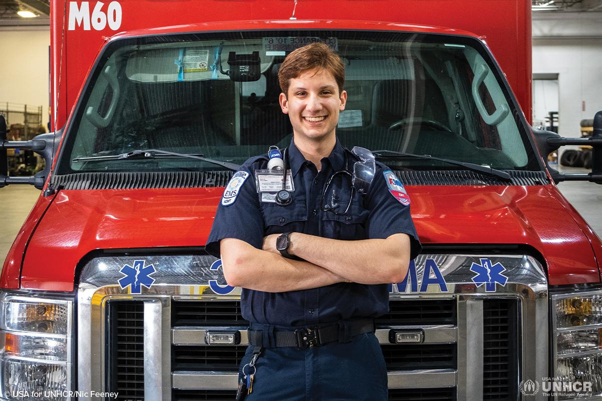 Abdallah in EMT uniform